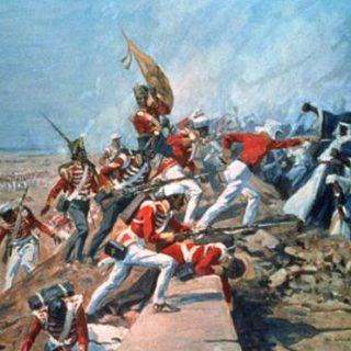نقاشی ال. ادواردز از اولین اشغال بوشهر به دست نیروهای بریتانیایی